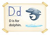 Illustration of a flashcard letter D