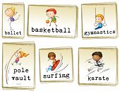 Images of athletic kids on a white background
