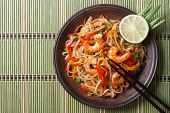 Delicious Rice Noodles With Shrimp Close-up Top View