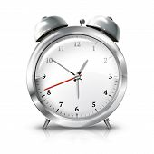 picture of analog clock  - Silver retro alarm clock isolated on white background - JPG
