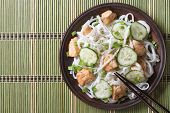 Japanese Rice Noodles With Chicken And Cucumbers Top View