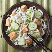 Rice Noodles With Chicken And Vegetables Close Up Top View