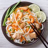 Salad Of Rice Noodles With Chicken, Shrimp And Vegetables