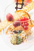 Close Up Of Chocolate Truffles In Elegant Glasses