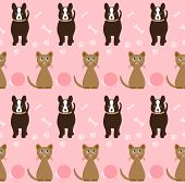 Funny Cartoon Seamless Dog And Cat Pattern On The Bright Pink Cover