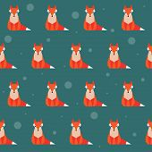 Bright Colored Fox Seamless Pattern Background