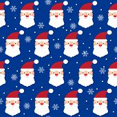 Holiday Bright Colored Seamless Pattern Background With Santa And Snowflakes On Blue Cover