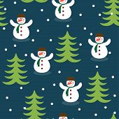 Funny Winter Holiday Background With Snowman