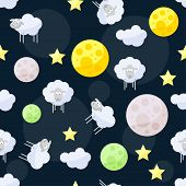 image of inference  - Funny vector seamless pattern background with clouds stars bright planets and cute sheep on the dark cover in open space - JPG