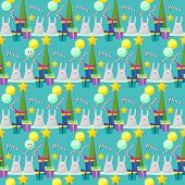 Winter Holiday Pattern Background With Funny Rabbits And Fir With Glass Holiday Balls And Gifts