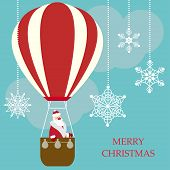 Funny Cartoon Winter Holidays Greeting Card With Santa Claus Flying In A Hot Air Balloon On A Bright