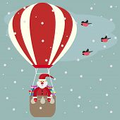 Funny Cartoon Winter Holidays Greeting Card With Santa Claus Flying In A Hot Air Balloon And Bullfin