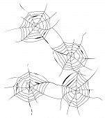 image of spiderwebs  - Four black spiderwebs situated on white background - JPG