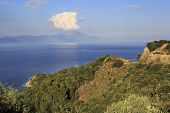 View from the top on Aegean Sea and Mount Athos.