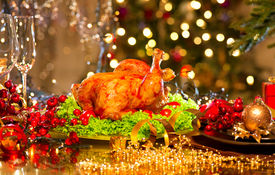 image of christmas dinner  - Christmas table setting with turkey - JPG