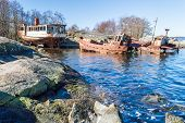 picture of shipwreck  - Three shipwrecks close to land in a small bay in Blekinge Sweden - JPG