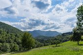 picture of naturel  - View from within the Pyrenees towards a montain range - JPG