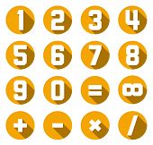 image of math  - Set of isolated yellow flat numbers and math symbols - JPG