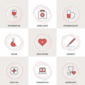 foto of ambulance  - Modern Vector Medicine Line Icons Set - JPG