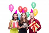 picture of birthday hat  - Photo of happy young people looking at camera - JPG