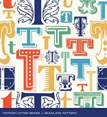 picture of letter t  - Seamless vintage pattern of the letter T in retro colors - JPG