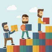 picture of going out business sale  - Three hipster Caucasian men with beard carrying blocks putting one by one going up as a sign of increasing sales - JPG