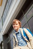 picture of schoolboys  - Portrait of happy schoolboy with backpack outdoor - JPG