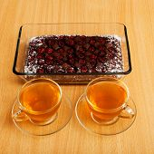 picture of cherry pie  - Two cup of tea and brownie  - JPG