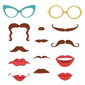 picture of mustache  - Party set  with mustaches - JPG