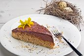 picture of crust  - Cake with crust made from rolled oats butter bananas and flour with sliced bananas and chocolate cream topping - JPG