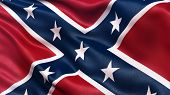 stock photo of confederation  - Confederate Battle Flag or St Andrews Cross waving in the wind - JPG