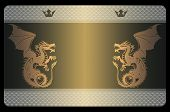 image of dragon  - Template of business card with gold dragons and abstract snake skin patterns - JPG
