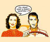 pic of car ride  - Happy retro couple is enjoying a car ride - JPG
