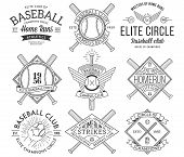 picture of hitter  - Nine black and white Vector sport badges and crests - JPG