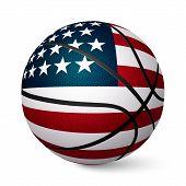 stock photo of realism  - Basketball ball flag of USA isolated on white background - JPG