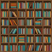 image of book-shelf  - background of library book shelf - JPG