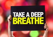picture of breath taking  - Take a Deep Breathe card with bokeh background - JPG