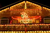 pic of christmas lights  - houses in alpine village of leavenworth wa decorated in december - JPG
