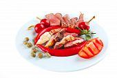Roast Beef Slices On Dish