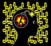 picture of breakdown  - Concept sign of female patient with mental breakdown or psychiatric disorder - JPG