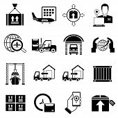 image of shipping receiving  - set of 16 shipping and logistic icons - JPG