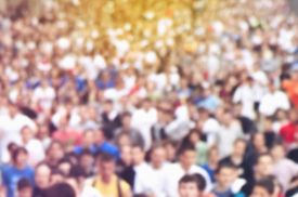 stock photo of long distance  - Blur Defocus Sport Background Image with Unrecgonizable People Running Marathon on the Street - JPG
