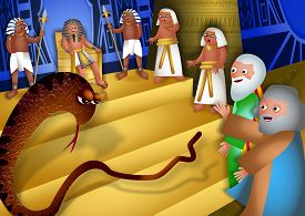 picture of pharaohs  - A cartoon biblical illustration showing Moses and Aaron standing before pharaoh and performing the miracle of the staff turning into a serpent - JPG