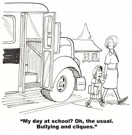 foto of school bullying  - Education cartoon showing a girl getting of the bus and saying to her mother - JPG