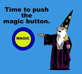 stock photo of going out business sale  - Business or education image showing a wizard pointing to a  - JPG