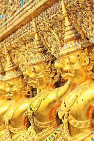 picture of garuda  - The Goden Garuda in Temple background - JPG