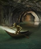 foto of gollum  - goblin in boat on underground lake digital painting - JPG