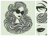 Long Curly Hairstyle. Vector Illustration.