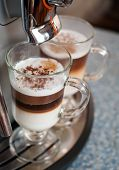 Two Glasses Fileed With Capuccino In Cofee Machine