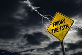Friday The 13Th Sign With Stormy Background poster